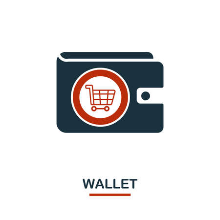 Wallet icon in two colors. Creative black and red design from e-commerce icons collection. Pixel perfect simple wallet icon for web design, apps, software, print usage.