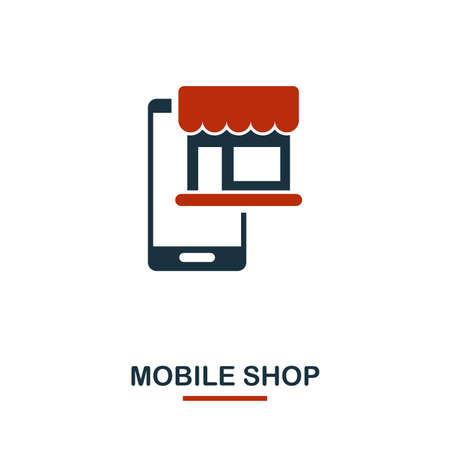 Mobile Shop icon in two colors. Creative black and red design from e-commerce icons collection. Pixel perfect simple mobile shop icon for web design, apps, software, print usage.