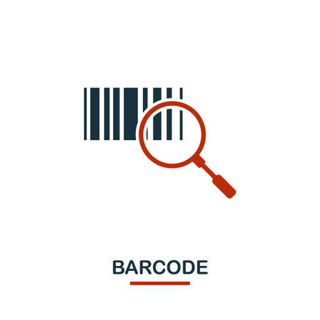 Barcode icon in two colors. Creative black and red design from e-commerce icons collection. Pixel perfect simple barcode icon for web design, apps, software, print usage. Banque d'images - 122501220