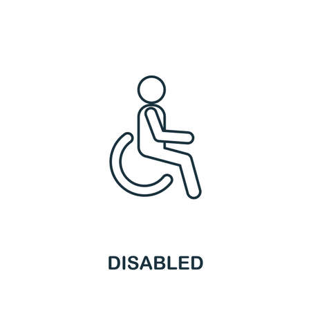 Disabled icon. Thin line outline style from shopping center sign icons collection. Premium disabled icon for design, apps, software and more. 向量圖像