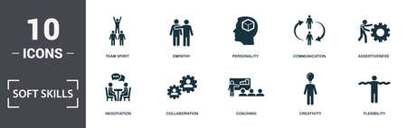 Soft Skills icons set collection. Includes simple elements such as Self-Confidence, Negotiation, Collaboration, Coaching, Creativity, and Nuclear Energy premium icons.