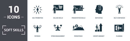 Soft Skills icons set collection. Includes simple elements such as Assertiveness, Self-Promotion, Selling Skills, Presentation Skills, Motivating, Patience and Stress Management premium icons. Vectores