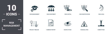 Risk Management icons set collection. Includes simple elements such as Project Duration, Project Timeline, Company Report, Scope Of Risk, Financial Risk, and Church premium icons.