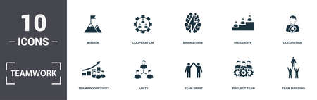 Teamwork icons set collection. Includes simple elements such as Workgroup, Team Productivity, Unity, Team Spirit, Project Team, and Mobility premium icons.