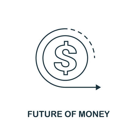 Future Of Money icon outline style. Thin line design from fintech icons collection. Pixel perfect future of money icon for web design, apps, software, print usage.