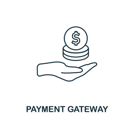 Payment Gateway icon outline style. Thin line design from fintech icons collection. Pixel perfect payment gateway icon for web design, apps, software, print usage. Foto de archivo - 123629910