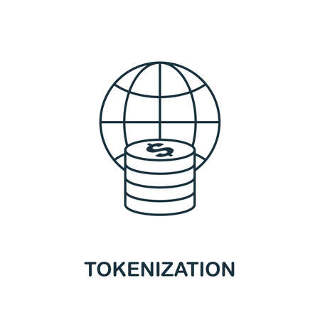 Tokenization icon outline style. Thin line design from fintech icons collection. Pixel perfect tokenization icon for web design, apps, software, print usage.
