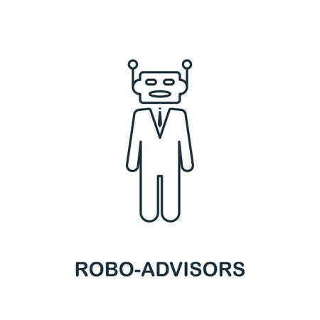 Robo-Advisors icon outline style. Thin line design from fintech icons collection. Pixel perfect robo-advisors icon for web design, apps, software, print usage.