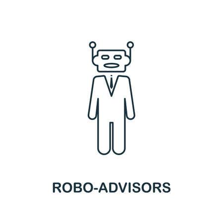 Style de contour de l'icône Robo-Advisors. Conception de lignes fines de la collection d'icônes fintech. Icône de robo-advisors parfaite pour la conception Web, les applications, les logiciels et l'utilisation de l'impression.