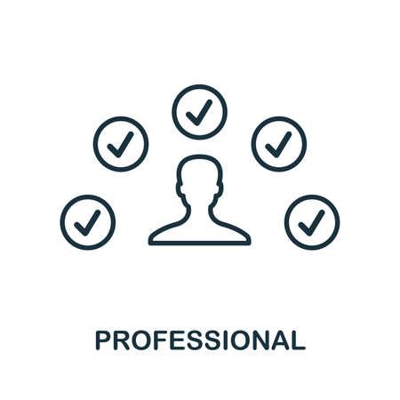 Profesjonalna ikona. Cienka konstrukcja w stylu konspektu z kolekcji ikon influencer. Ikona linii Professional do projektowania stron internetowych, aplikacji, oprogramowania, drukowania.
