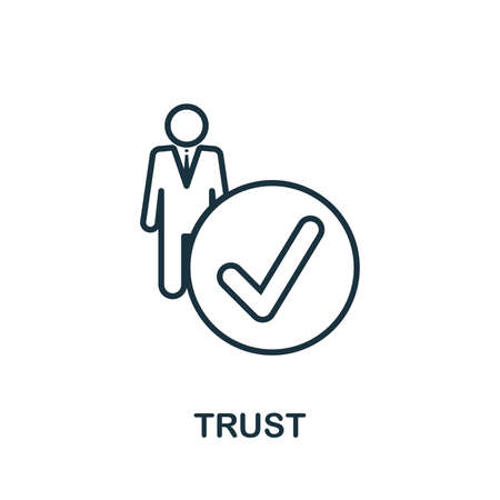 Trust icon. Outline style thin design from influencer icons collection. Line Trust icon for web design, apps, software, print usage.