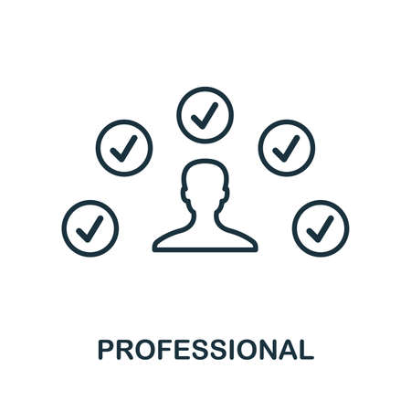 Professional icon. Outline style thin design from influencer icons collection. Line Professional icon for web design, apps, software, print usage.