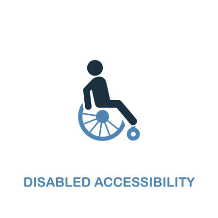 Disabled Accessibility icon in two colors. Creative design from city elements icons collection. Colored disabled accessibility icon for web and mobile design. 写真素材