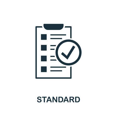 Standardvektorikonenillustration. Kreatives Zeichen aus der Sammlung von Symbolen für die Qualitätskontrolle. Gefülltes flaches Standardsymbol für Computer und Handy.