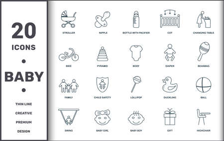 Baby Things icons set collection. Includes creative elements such as Stroller, Nipple, Bottle With Pacifier, Cot, Changing Table, Child Safety and Lollipop premium icons. Illustration