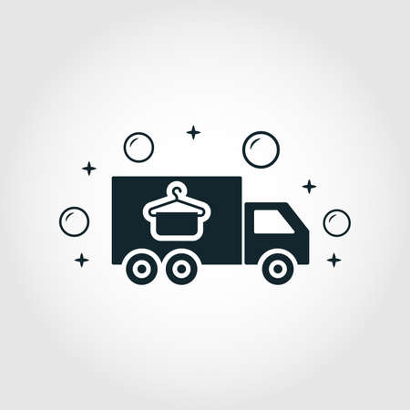 Loundry Delivery icon. Monochrome style design from cleaning icons collection. Symbol of loundry delivery isolated icon Illustration
