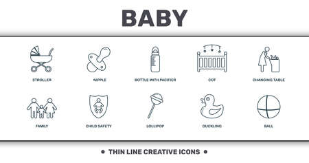 Baby Things icons set collection. Includes creative elements such as Stroller, Nipple, Bottle With Pacifier, Cot, Changing Table, Child Safety and Lollipop premium icons. Vettoriali