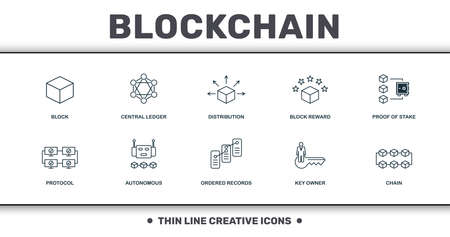 Blockchain set icons collection. Includes simple elements such as Block, Central Ledger, Distribution, Block Reward, Proof Of Stake, Autonomous and Ordered Records premium icons. Foto de archivo - 126205744