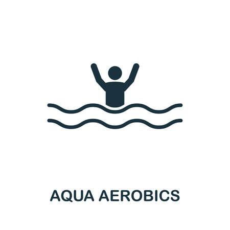 Ilustración de icono de vector de aeróbic acuático. Muestra creativa de la colección de iconos. Icono de Aqua Aerobics plano lleno para computadora y móvil. Símbolo, gráficos vectoriales logo.