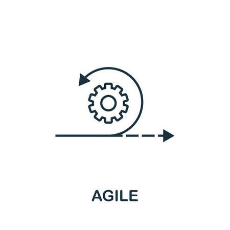 Symbol für agile Gliederung. Dünne Linie Konzeptelement aus der Sammlung von Inhaltssymbolen. Creative Agile-Symbol für mobile Apps und Webnutzung.