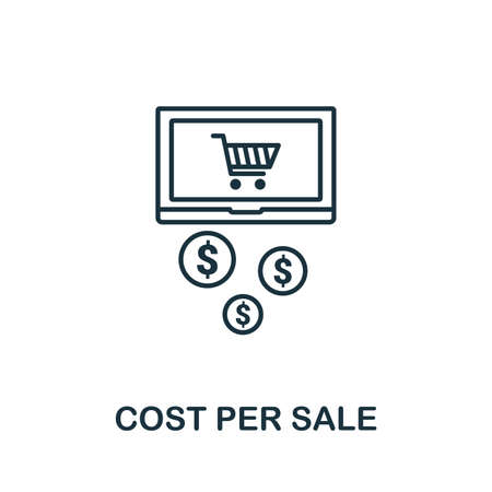Cost Per Sale outline icon. Thin line concept element from content icons collection. Creative Cost Per Sale icon for mobile apps and web usage.