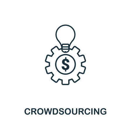 Crowdsourcing outline icon. Thin line concept element from content icons collection. Creative Crowdsourcing icon for mobile apps and web usage.