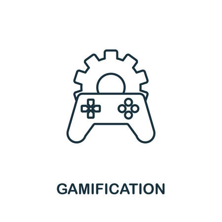 Gamification outline icon. Thin line concept element from content icons collection. Creative Gamification icon for mobile apps and web usage.