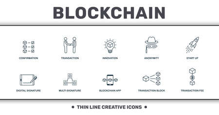 Blockchain set icons collection. Includes simple elements such as Confirmation, Transaction, Innovation, Anonymity, Start Up, Multi-Signature and Blockchain App premium icons. Foto de archivo - 126531843