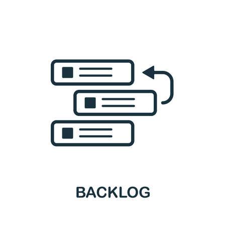 Rückstand-Vektor-Symbol-Illustration. Kreatives Zeichen aus der Sammlung von agilen Symbolen. Gefülltes flaches Backlog-Symbol für Computer und Mobilgeräte.
