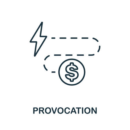 Provocation icon. Thin outline style design from corruption icons collection. Creative Provocation icon for web design, apps, software, print usage. Ilustração
