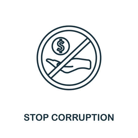 Stop Corruption icon. Thin outline style design from corruption icons collection. Creative Stop Corruption icon for web design, apps, software, print usage.