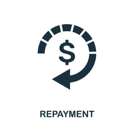 Repayment icon illustration. Creative sign from investment icons collection.