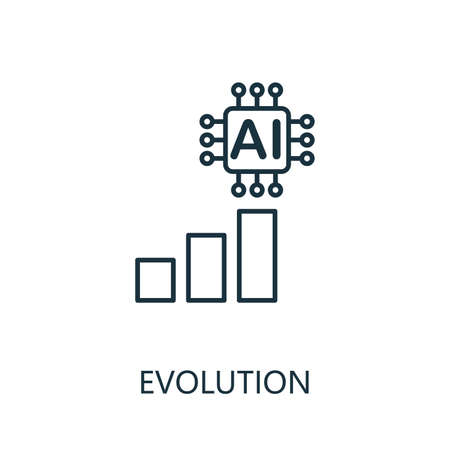 Evolution thin line icon. Creative simple design from artificial intelligence icons collection. Outline evolution icon for web design and mobile apps usage. 写真素材 - 128871136