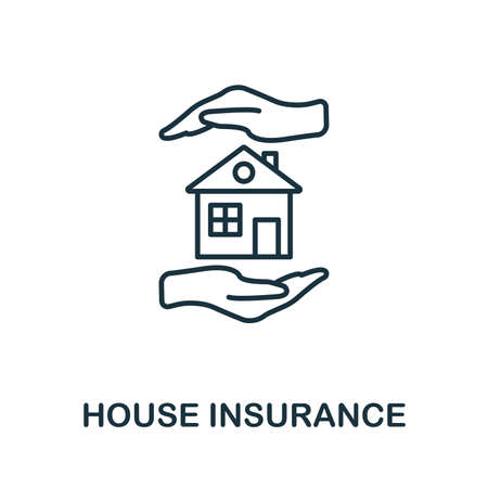 House Insurance outline icon. Thin line style icons from insurance icons collection. Web design, apps, software and printing usage simple house insurance icon. Zdjęcie Seryjne