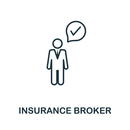 Insurance Broker outline icon. Thin line style icons from insurance icons collection. Web design, apps, software and printing usage simple insurance broker icon. Zdjęcie Seryjne