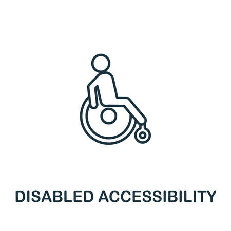 Disabled Accessibility outline icon. Thin style design from city elements icons collection. Pixel perfect symbol of disabled accessibility icon. Web design, apps, software, print usage.