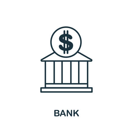 Bank outline icon. Thin style design from city elements icons collection. Pixel perfect symbol of bank icon. Web design, apps, software, print usage.