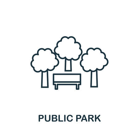 Public Park outline icon. Thin style design from city elements icons collection. Pixel perfect symbol of public park icon. Web design, apps, software, print usage.