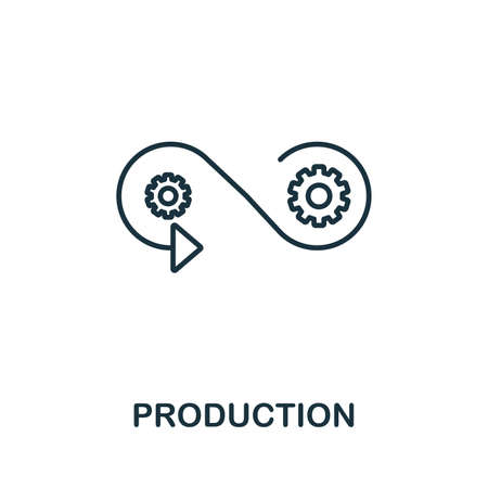 Production outline icon. Thin line style from community icons collection. Pixel perfect simple element production icon for web design, apps, software, print usage. Ilustração