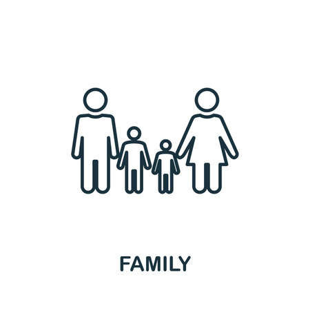 Family outline icon. Thin line style from community icons collection. Pixel perfect simple element family icon for web design, apps, software, print usage. Stock Photo