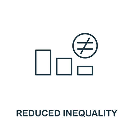 Reduced Inequality outline icon. Thin line style from community icons collection. Pixel perfect simple element reduced inequality icon for web design, apps, software, print usage. Ilustração