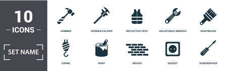 Construction Tools icon set. Contain filled flat paintbrush, reflective vest, paint, adjustable wrench, trowel tool, window icons. Editable format. Illustration