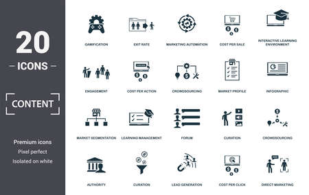 Content icon set. Contain filled flat cms, content plan, content creator, viral, viral marketing, media plan, social content icons. Editable format. Illustration