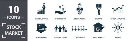 Stock Market icon set. Contain filled flat bear market, bull market, stock analytics, stock agent, capital stock, capital trust, demand, frequency icons. Editable format. Vettoriali