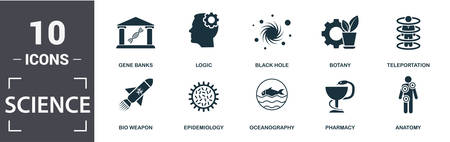 Science icon set. Contain filled flat gene banks, epidemiology, teleportation, black hole, anatomy, botany icons. Editable format. Stock Vector - 128204934