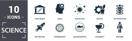 Science icon set. Contain filled flat gene banks, epidemiology, teleportation, black hole, anatomy, botany icons. Editable format. Illustration