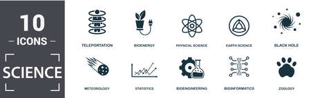 Science icon set. Contain filled flat logic, statistics, physical science, earth science, meteorology, zoology icons. Editable format.