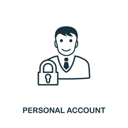 Personal Account icon outline style. Simple glyph from icons collection. Line Personal Account icon for web design and software. Ilustração