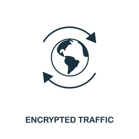Encrypted Traffic icon outline style. Simple glyph from icons collection. Line Encrypted Traffic icon for web design and software.