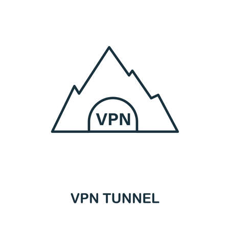 Vpn Tunnel icon outline style. Simple glyph from icons collection. Line Vpn Tunnel icon for web design and software Illustration